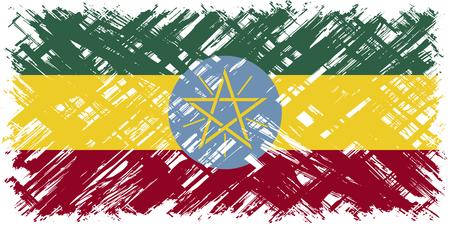 ethiopian: Ethiopian grunge flag. Vector illustration. Grunge effect can be cleaned easily.