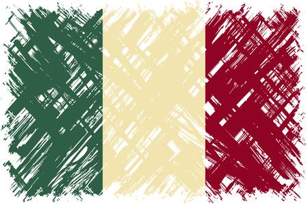 easily: Italian grunge flag. Vector illustration. Grunge effect can be cleaned easily. Illustration