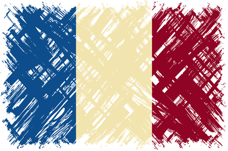 cleaned: French grunge flag. Vector illustration. Grunge effect can be cleaned easily. Illustration
