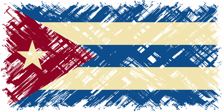 cuban culture: Cuban grunge flag. Vector illustration. Grunge effect can be cleaned easily.