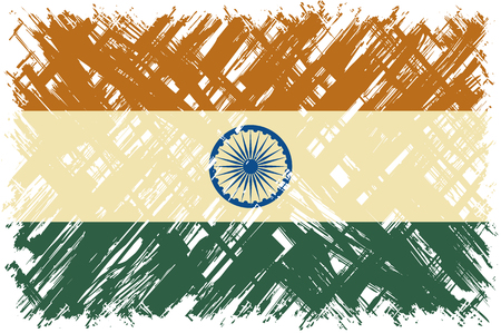 cleaned: Indian grunge flag. Vector illustration. Grunge effect can be cleaned easily.
