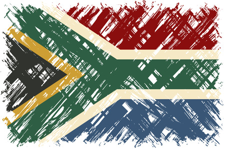 south african: South African grunge flag. Vector illustration. Grunge effect can be cleaned easily.