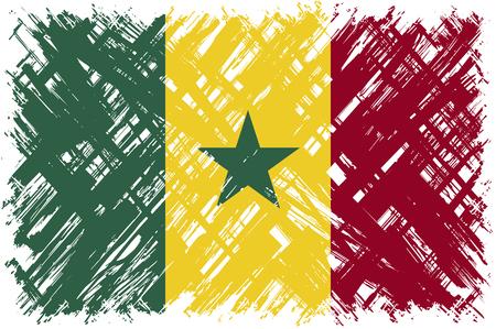 senegalese: Senegalese grunge flag. Vector illustration. Grunge effect can be cleaned easily. Illustration