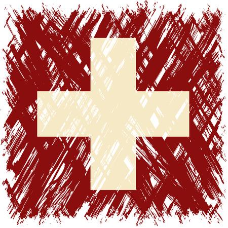 cleaned: Swiss grunge flag. Vector illustration. Grunge effect can be cleaned easily. Illustration