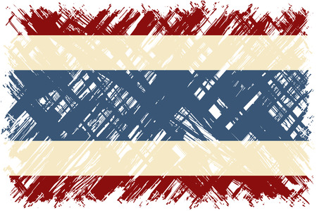 cleaned: Thai grunge flag. Vector illustration. Grunge effect can be cleaned easily.