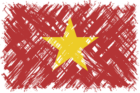 cleaned: Vietnamese grunge flag. Vector illustration. Grunge effect can be cleaned easily. Illustration