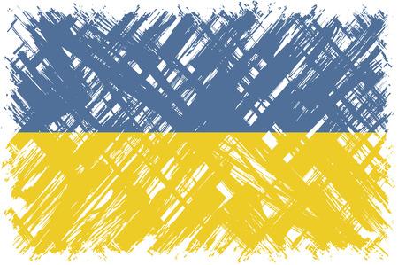 cleaned: Ukrainian grunge flag. Vector illustration. Grunge effect can be cleaned easily.