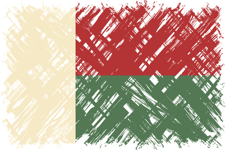 cleaned: Madagascar grunge flag. Vector illustration. Grunge effect can be cleaned easily.