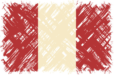cleaned: Peruvian grunge flag. Vector illustration. Grunge effect can be cleaned easily.