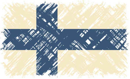 suomi: Finnish grunge flag. Vector illustration. Grunge effect can be cleaned easily. Illustration