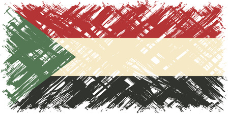 cleaned: Sudanese grunge flag. Vector illustration. Grunge effect can be cleaned easily.