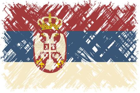easily: Serbian grunge flag. Vector illustration. Grunge effect can be cleaned easily. Illustration