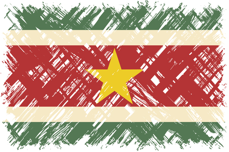 Surinamese grunge flag. Vector illustration. Grunge effect can be cleaned easily.