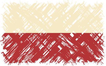 polish flag: Polish grunge flag. Vector illustration. Grunge effect can be cleaned easily.