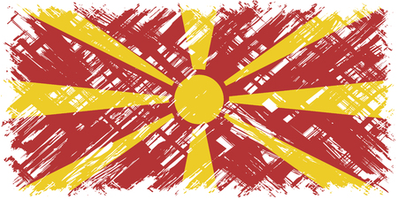 macedonian flag: Macedonian grunge flag. Vector illustration. Grunge effect can be cleaned easily. Illustration