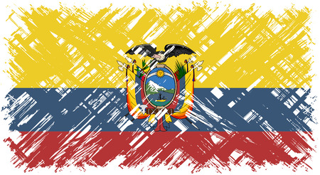 cleaned: Ecuadorian grunge flag. Vector illustration. Grunge effect can be cleaned easily.