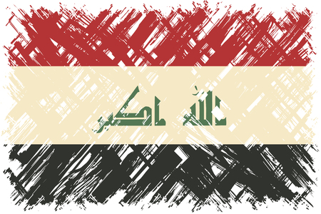 iraqi: Iraqi grunge flag. Vector illustration. Grunge effect can be cleaned easily. Illustration