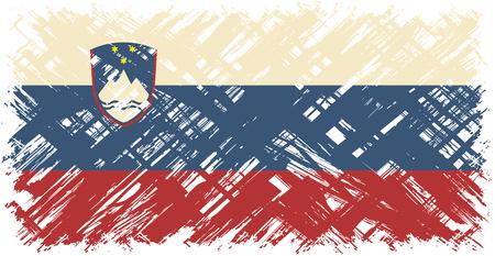 slovenian: Slovenian grunge flag. Vector illustration. Grunge effect can be cleaned easily. Illustration