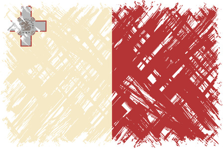 maltese: Maltese grunge flag. Vector illustration. Grunge effect can be cleaned easily.