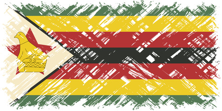 cleaned: Zimbabwean grunge flag. Vector illustration. Grunge effect can be cleaned easily.