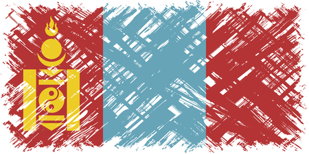 cleaned: Mongolian grunge flag. Vector illustration. Grunge effect can be cleaned easily.
