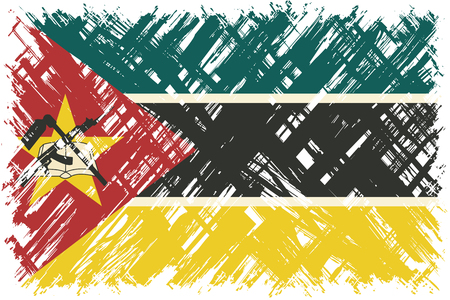cleaned: Mozambique grunge flag. Vector illustration. Grunge effect can be cleaned easily.