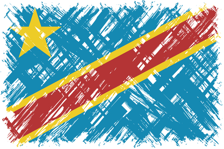 cleaned: Congolese grunge flag. Vector illustration. Grunge effect can be cleaned easily. Illustration