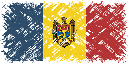 moldovan: Moldovan grunge flag. Vector illustration. Grunge effect can be cleaned easily. Illustration