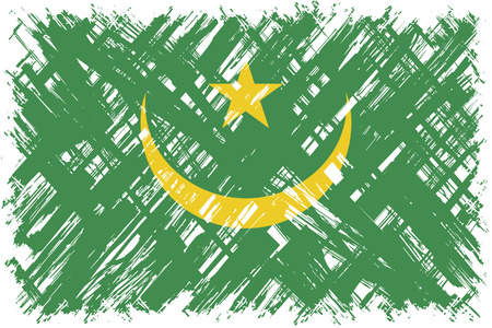 mauritania: Mauritanian grunge flag. Vector illustration. Grunge effect can be cleaned easily.