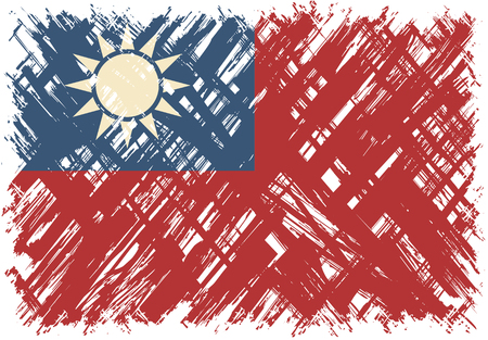 taiwanese: Taiwanese grunge flag. Vector illustration. Grunge effect can be cleaned easily. Illustration