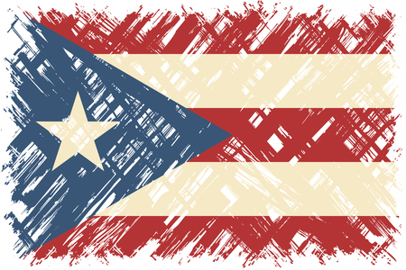 puerto rican flag: Puerto Rican grunge flag. Vector illustration. Grunge effect can be cleaned easily.