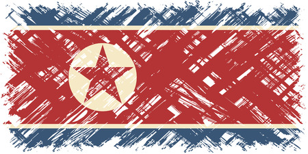 North Korean grunge flag. Vector illustration. Grunge effect can be cleaned easily.