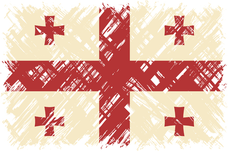 cleaned: Georgian grunge flag. Vector illustration. Grunge effect can be cleaned easily.