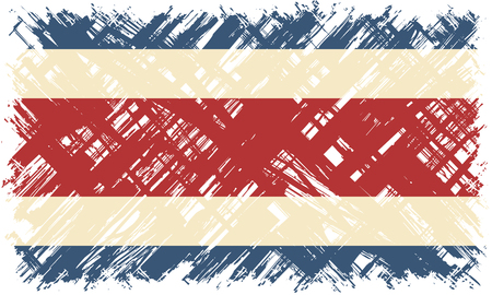 costa rican: Costa Rican grunge flag. Vector illustration. Grunge effect can be cleaned easily.