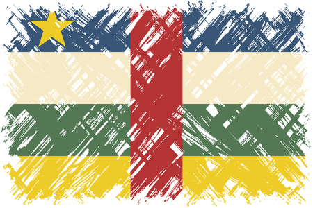 cleaned: Central African Republic grunge flag. Vector illustration. Grunge effect can be cleaned easily.