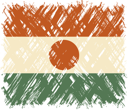 cleaned: Niger grunge flag. Vector illustration. Grunge effect can be cleaned easily.