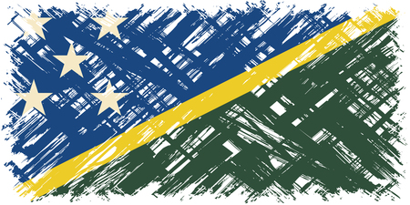 cleaned: Solomon Islands grunge flag. Vector illustration. Grunge effect can be cleaned easily.