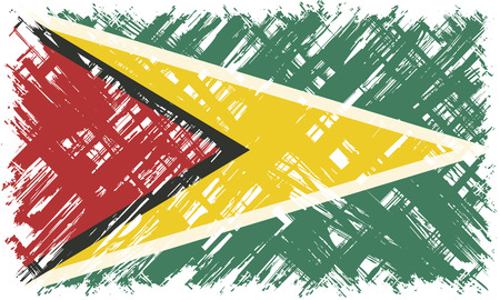 cleaned: Guyanan grunge flag. Vector illustration. Grunge effect can be cleaned easily.