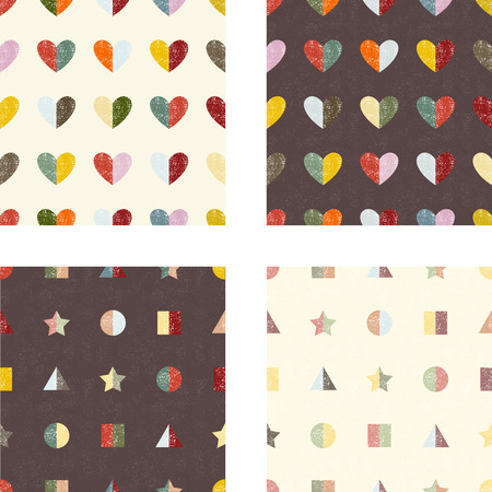 heart design: Set of grunge seamless patterns. Vector illustration.
