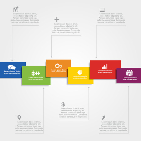 six web website: Infographic design template with place for your data. Vector illustration.