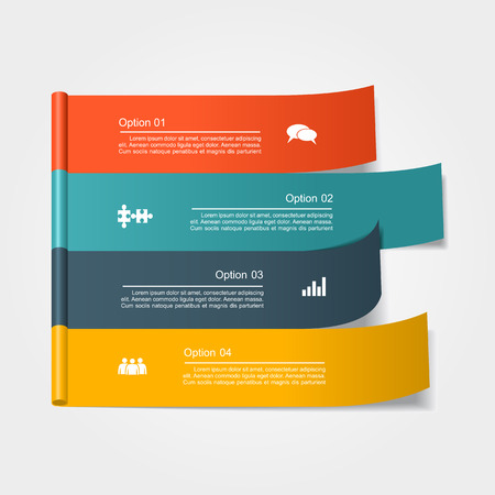 ribbon background: Banner infographic design template with place for your data.