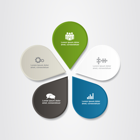 five petals: Banner infographic design template with place for your data.