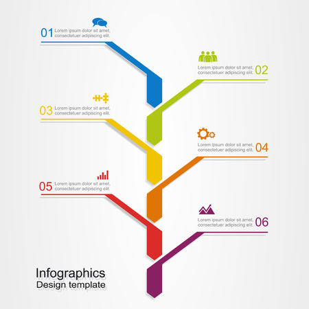 six web website: Banner infographic design template with place for your data.