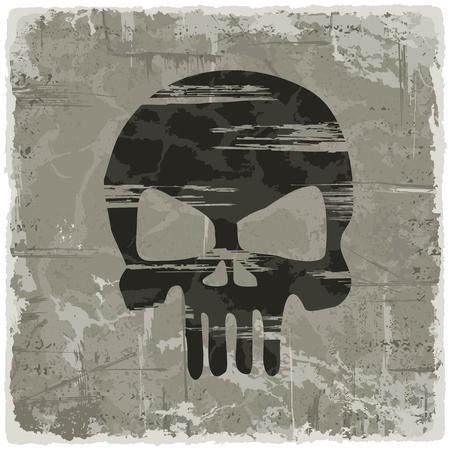 vintage paper: Grunge texture vintage background with skull. Vector illustration.
