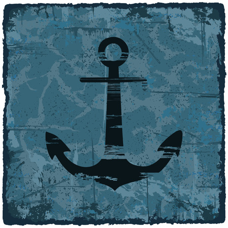 paper art: Grunge texture vintage background with anchor. Vector illustration. Illustration