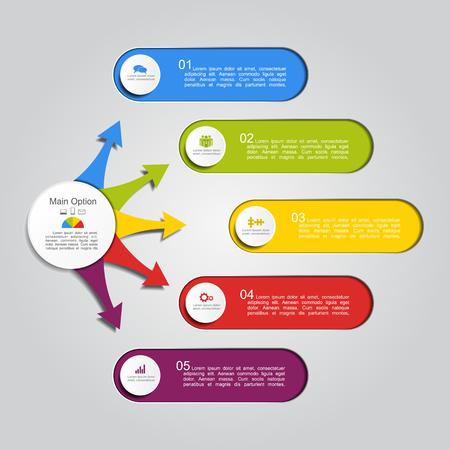 Modello di rapporto infografica con posto per i tuoi dati. Illustrazione vettoriale
