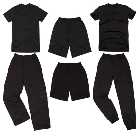 slacks: Set of male sportswear. Isolated on a white background. Stock Photo