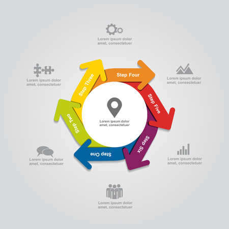 six web website: Infographic report template with place for your data. Vector illustration. Illustration