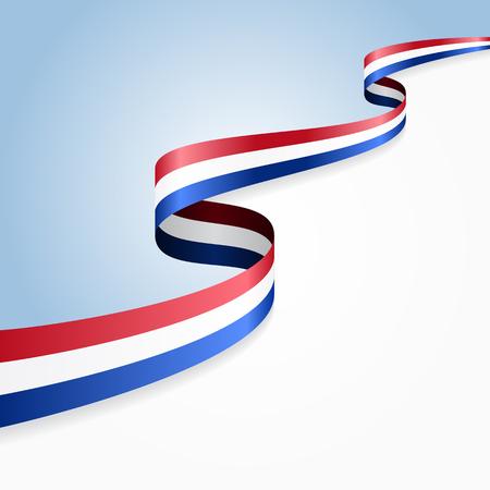 dutch: Dutch flag wavy abstract background. Vector illustration.