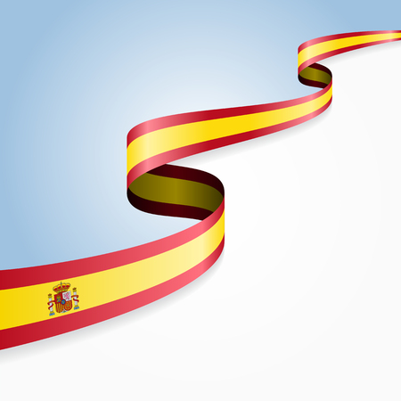 spanish flag: Spanish flag wavy abstract background. Vector illustration.